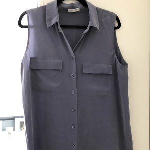 Equipment Blue/Gray Silk Sleeveless Tunic M